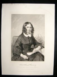 Elizabeth Barrett Browning 1873 Antique Portrait Print